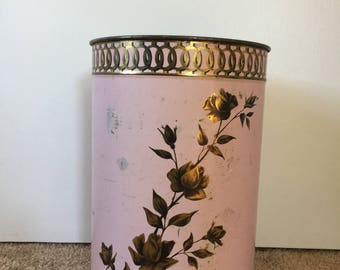Pink with Gold Roses,  Vintage Metal  Decoware umbrella/ trash bin, 1950's