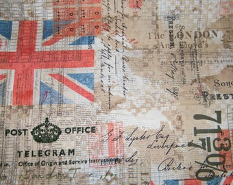 BTY Eclectic Elments ROYAL MAIL Print 100% Cotton Quilt Crafting Tim Holtz Fabric by the Yard