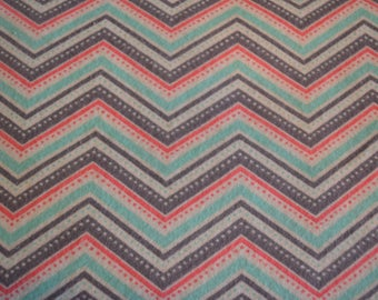 Coral Dotted Chevron Snuggle Flannel Coral Grey White Mint Green
