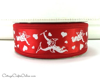"Wired Edge Valentine Ribbon, 1 1/2"" Red White Cupid and Arrow Print - THREE YARDS -  ""Cupid's Bow"" Craft Wire Edge Ribbon"