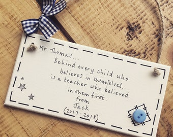 Personalised teacher gift present thank you preschool childminder nursery plaque sign leaving Mr Male