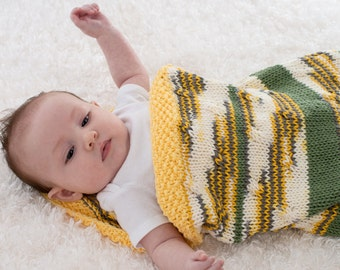 Hand Knit Baby Cocoon, Cotton Baby Blanket, Yellow and White with Green Stripes, 100% Cotton - 174