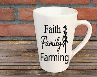 Faith Family Farming Mug Coffee Cup Gift Home Decor Kitchen Bar Gift for Her Him Any Color Personalized Custom Jenuine Crafts