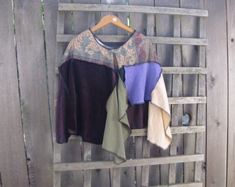 Upcycled Lagenlook Hippie Poncho Funky Romantic Cape Cover Up/Eco Sweater Shawl Purple Green Cream Floral Velvet Patchwork Ponchos One Size