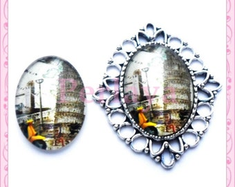 Set of 4 Cabochons glass oval 18x25mm Tower of Pisa REF1620X4