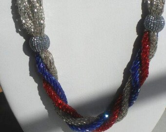 1930's  Necklace of Clear, Red and Blue Strands of Cut Glass Seed Beads