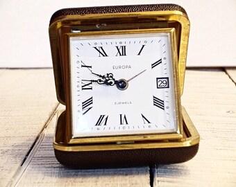 Vintage Travel Alarm Clock, Travel clock with case