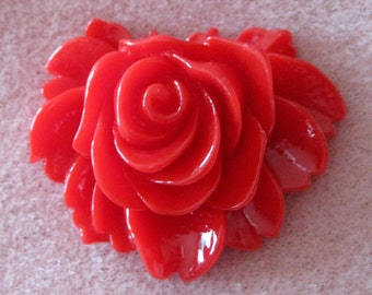 Drilled Acrylic Lucite Red Rose Flower Beads With Hole 43mm x 35mm 914