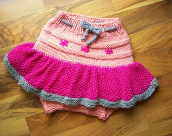 Hand Knitted Wool Diaper Cover Skirt Baby Wool Diaper Cover Wool Diaper Soaker Wool diaper Wrap Wool Nappy Cover size Large