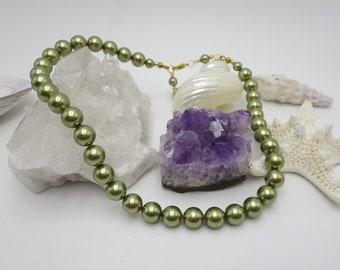Olive Green Pearl Choker, Single Strand Swarovski Pearl Womens Classy Pearl Jewelry, Stylish Vintage Style Choker Fashion Necklace