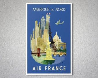 Amerique du Nord, Air France - Vintage Travel Poster - Poster Paper, Sticker or Canvas Print / Gift Idea