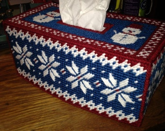 Winter PATTERN for Plastic Canvas Tissue Box Cover