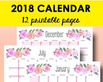 2018 monthly printable calendar free