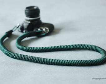 black leather dark green 16mm Hand knit Chinese knot handmade Camera neck strap