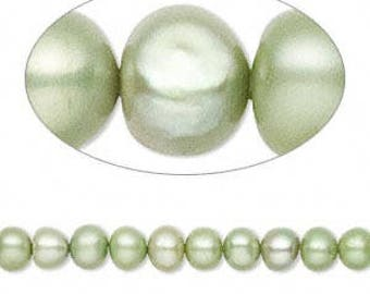 Cultured Freshwater potato pearl, dyed, 4-5mm, Moss Green  #2557
