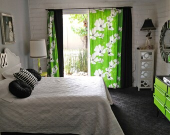 MOD Vintage 1960s Vera Neumann Curtains Drapes Draperies MCM Midcentury Modern Green Hippie Home Decor Handmade Fabric Yardage Fully Lined