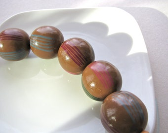 Painted wood beads, 5 beads, chestnut brown, red and green stripes, 20mm    # 203