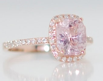 Champagne sapphire engagement ring 14k rose gold diamond ring 2.14ct cushion light champagne sapphire
