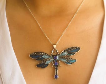 Blue Dragonfly Necklace / Enamel Necklace / Gift For Her