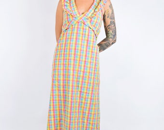 VTG 60s 70s Pastel Rainbow Gingham Plaid Tartan Maxi Dress Halter Backless Gowm Tie Sash Bow Kawaii Girly Vintage Mod Dress