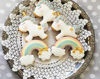 10 Unicorn and/or Rainbow cookies - party biscuits -unicorn party - birthday party cookies