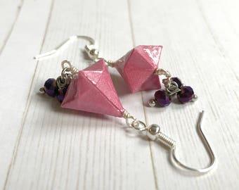 Origami Bell Earrings // Pink Shimmer