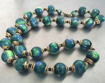 Vintage Beaded Necklace, Blue Green Marbled Beads, Gold Tone Vintage Jewelry, Statement Necklace, Earth Necklace, Earth Beads, Vintage 70s