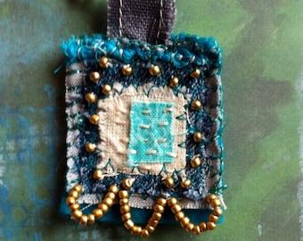 Textile Brooch - Boho Hippy Chic Festival Pin