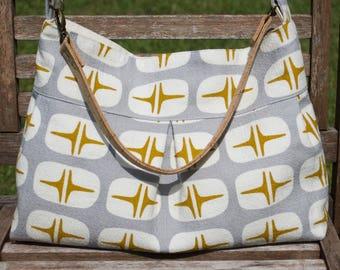Organic Retro-Modern Pleated Handbag with Cork Handle - Choose Your Print!