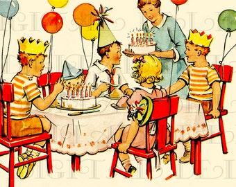 Rare lovely art deco birthday cake vintage illustration colorful 1950s kids birthday party vintage digital birthday card retro birthday vintage illustration bookmarktalkfo Images
