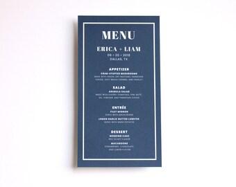 "Printable Wedding Menu - Navy Blue Wedding Menu - Digital Printable - 4.25"" x 8"" Menu - 2 Up on Letter 8.5"" x 11"" - Digital Printable File"