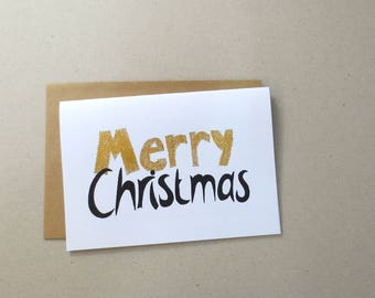 Merry Christmas card - set of 5 - print version - design by ZIZOlabel - blackandwhite and gold - handlettering