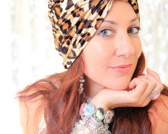 Leopard Print Turban in Velvet - Women's Fashion Turbans - Animal Print Hair Wrap - Bohemian Style Hair Accessories