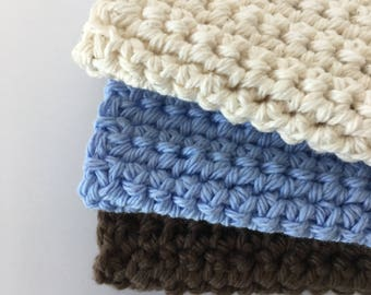 3 Kitchen Crochet Cotton Wash Cloths, Kitchen Dish Cloths Kitchen and Dining Towels Housewarming Gift Free Shipping READY TO SHIP