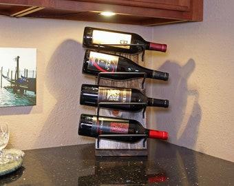 Rustic Wood Countertop Wine Rack Display | Small Tabletop Wine Rack | Wine Stand | Wine Lover Gift