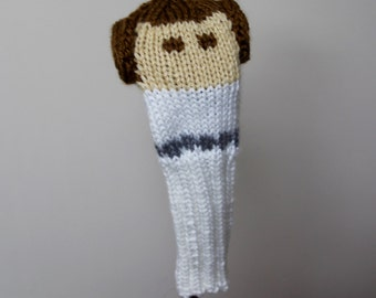 Princess Leia, Star Wars, Golf Headcover, Golf Club Cover, Golf Head Cover, Knit, Crochet, Golf Gift, Gifts for Men, Geek, Sci Fi, Custom