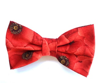 Men's bow tie, poppy bow tie, Remembrance Day,