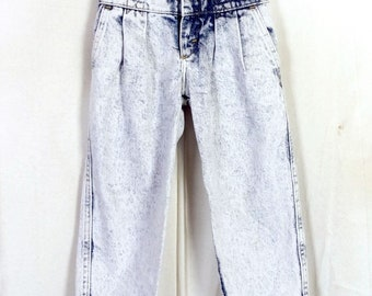vtg 80s Lee Kids Acid Wash High Waist Pleated Front Denim Jeans USA made 5 Reg