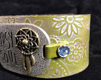 Gypsy Soul Leather Bracelet - Green