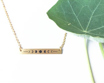 Moon Phases Bar Necklace in Gold, Moon Charm Necklace in Gold, Moon Phases Jewelry, Crescent Moon and Full Moon Jewelry