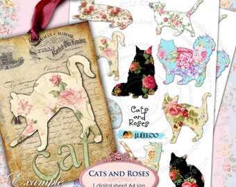 CATS AND ROSES png file digital collage sheet - large digital papers texture for scrapbooking jpg art - instant download printable - pp119