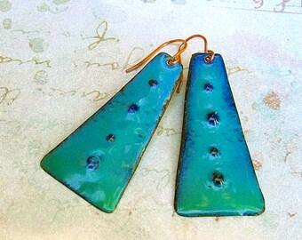 Boho style turquoise earrings, Trapezoid dangle drop, Enamel Bohemian Jewelry