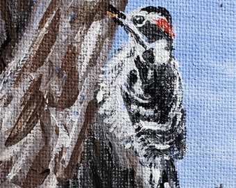 Downy Woodpecker (Miniature Acrylic Painting with Easel)