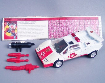 Vintage G1 Transformers Red Alert Figure With Accessories and Tech Specs - Missing Door