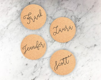 25 Cork Coaster Set, Engraved Coaster, Wedding Favor, Personalized Coasters, Custom Engraved Wedding Coasters, Party decor --22107-CST2-029