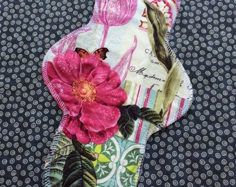 """12"""" Moderate to Heavy, Waterproof Reusable Cloth Pad, Postpartum, Romantic Rose, Other Sizes Available Upon Request"""