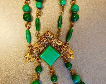 Czech, Neiger, Victorian Revival, Green Glass, and Brass Necklace