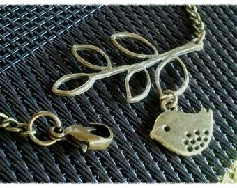 Antiqued Vintage Bronze Leaf with Bird Charms Bracelet - Birthday gift, Best friend gift