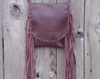 Fringed leather crossbosy handbag , Ready to ship ,  Leather phone bag , Tribal festival bag , Boho bag