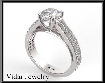 Unique Engagement Ring,Diamond Engagement Ring,UNIQUE,Duble Pave ,Weddings,Luxury,Brides,14k White gold,Double Pave Diamond Ring,Diamonds